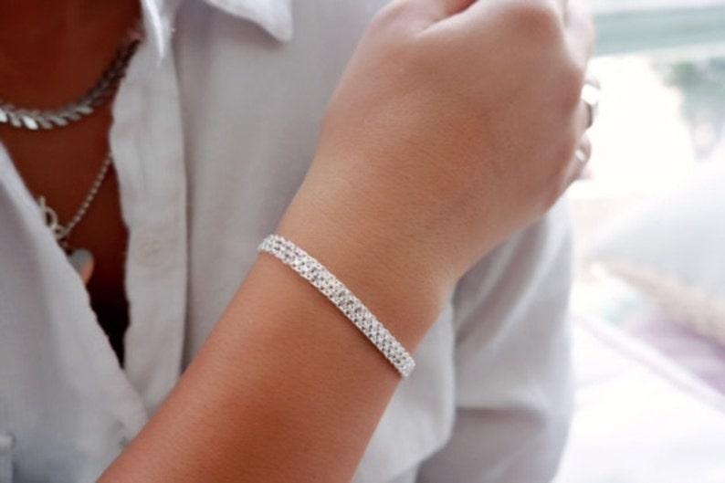 Silver Bracelet Delicate Chain Bracelet Layered Bracelet image 1