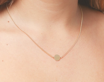 Gold Disc Necklace, Tiny Circle Necklace, Dainty Disk Necklace, Everyday Layering Necklace, Minimalist Gold Filled or Silver Jewelry.