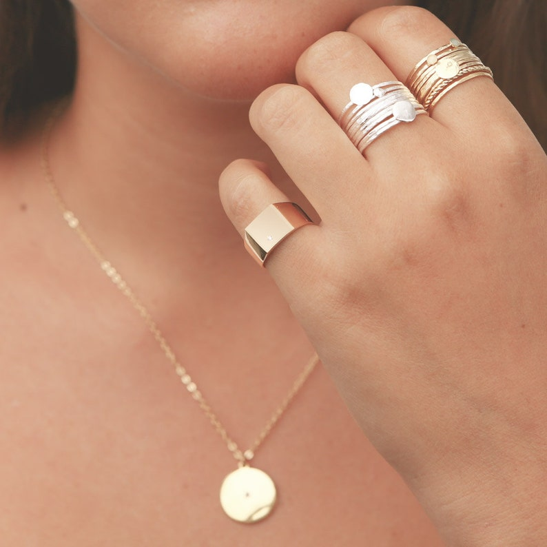 Gold Signet Ring Dainty Pinky Ring Geometric Square Gold image 1