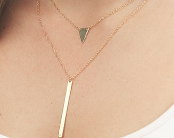 Gold layered necklace triangle necklace vertical bar double chain set of two delicate gold filled jewelry