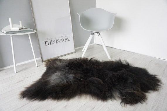 Luxe Extra Large Super Doux UK Made Noir Véritable Peau De Mouton Tapis masquer Pelt