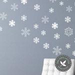 24 - Multi Sized Snowflakes Vinyl Christmas Seasonal Decal Sticker Decor Winter