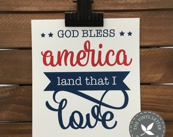 DIGITAL | God Bless America Land That I Love | SVG and STUDIO digital print or cut file | Personal Use | Independence Day | 4th of July