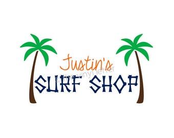 Custom Bedroom Beach Surf Shop Tropical Vinyl Wall Decal Sticker