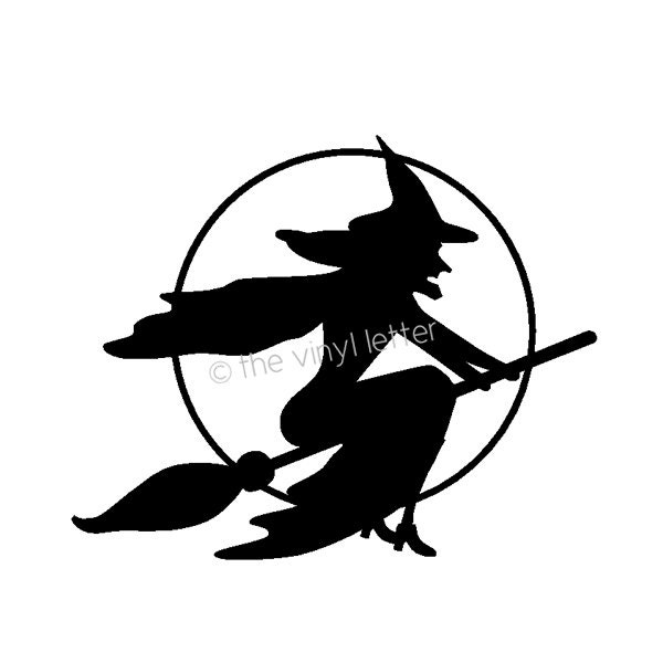flying witch broom moon halloween vinyl decal