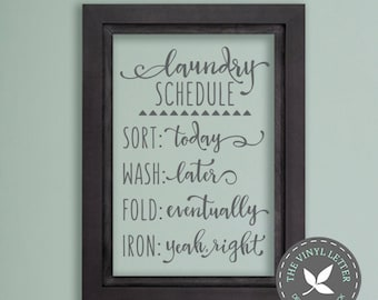 Laundry Schedule Sort Wash Fold Iron Style 2 | Vinyl Wall Home Decor Decal Sticker