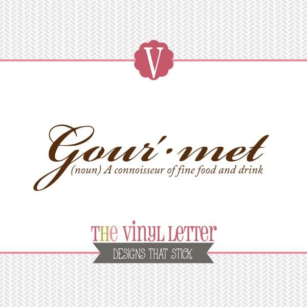 Gourmet Kitchen Definition: Gourmet Definition Kitchen Vinyl Wall Decal Home Decor Sticker