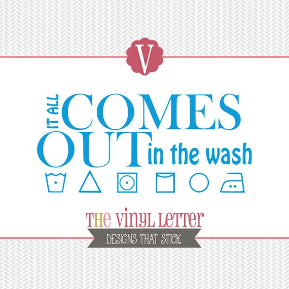 It All Comes Out in the Wash Laundry Room Wash Symbols Vinyl Wall Decal  Home Decor Sticker