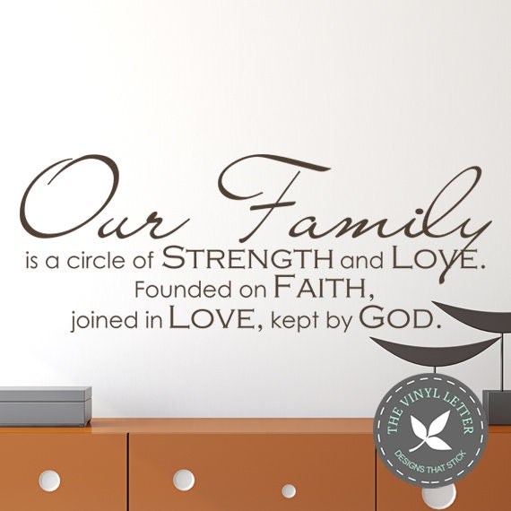 Our Family Circle Of Strength Love Faith God Religious Vinyl Wall