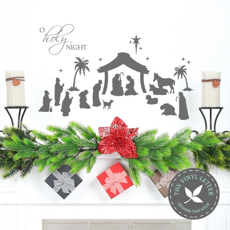 o holy night christmas nativity vinyl wall art decor sticker | etsy