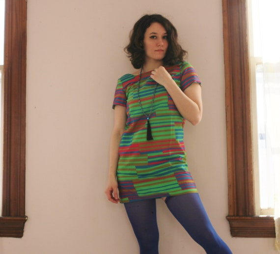 1960's Striped Rainbow Mini Mod Psych Dress