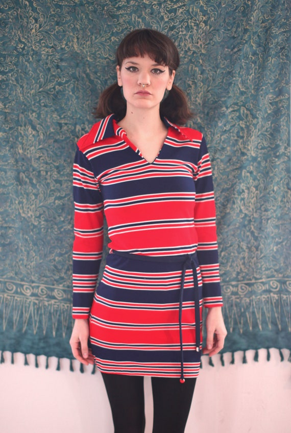 70's Mod Striped Mini Dress