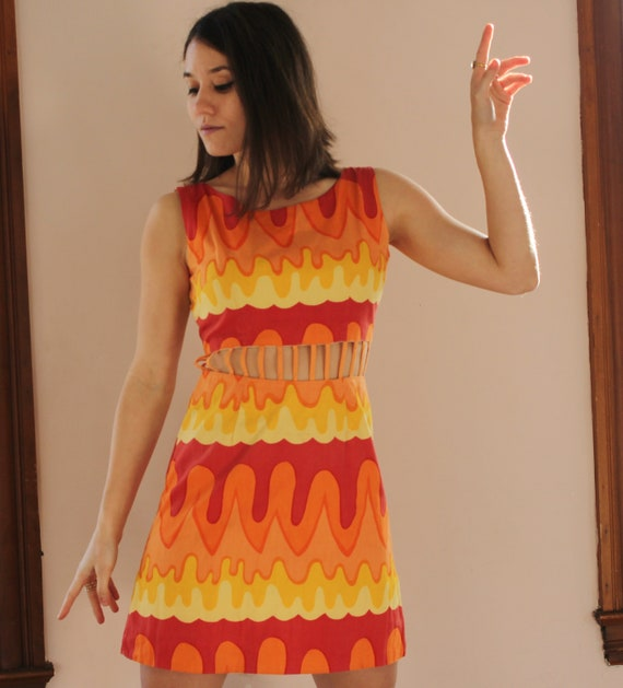 Psychedelic 60's Vintage Cage Mini Dress