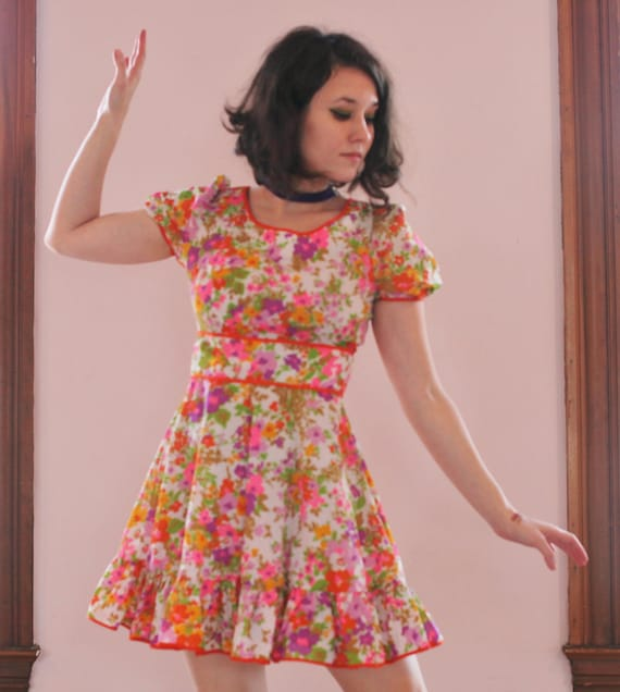 60's Flower Mini Dress