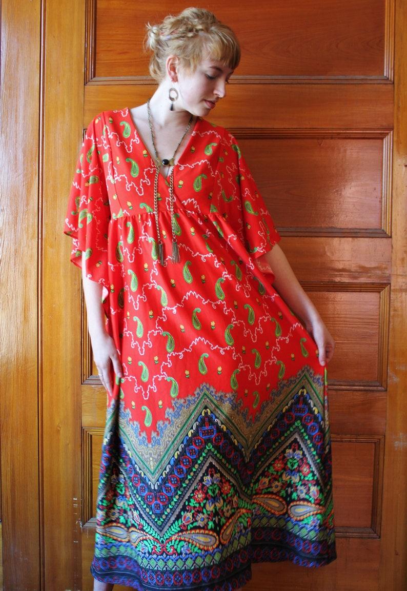 76a2c77d8a7 Vintage Sears Groovy Paisley Maxi Dress