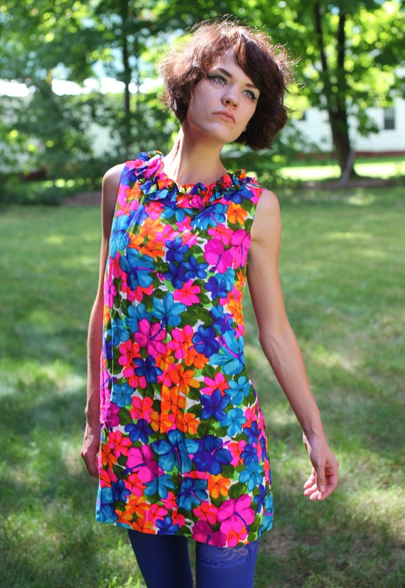 Vintage 60's 70's Neon Flower Power Mini Dress
