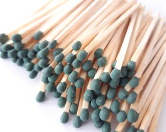 """3.4"""" long Dark Olive Green tip long wooden matchsticks for home decor, 100 matches, crafts, design, matchbox or jar filling"""