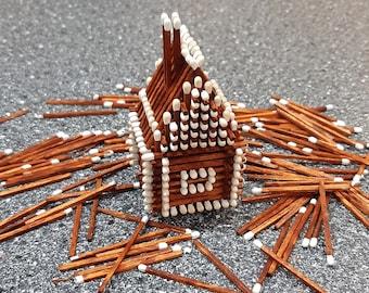 NEW! Matchstick house, handmade, no glue, ginger and white