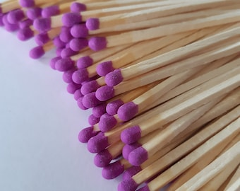 """NEW! 3.4"""" Magenta tip long wooden matches for home decor, wedding favors, crafts, design, matchbox filling, 100 matches"""