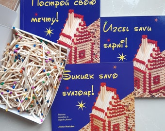Book DIY instruction Matchhouse building step by step Lithuanian language Sukurk savo svajone plus matches for building
