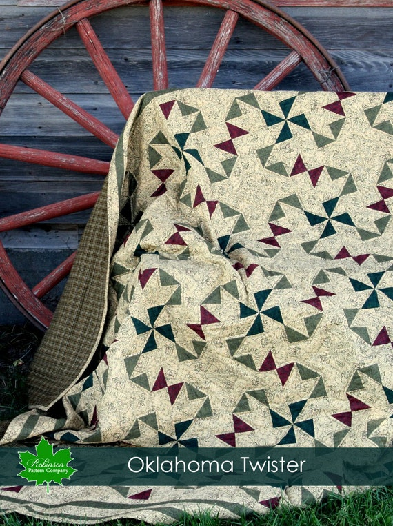 Oklahoma Twister Quilt Pattern Printed Pattern Of A Etsy