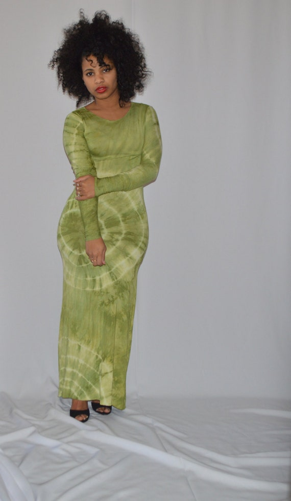 Dress Sleeves Long w Maxi Apple Green 1nUHSxFw