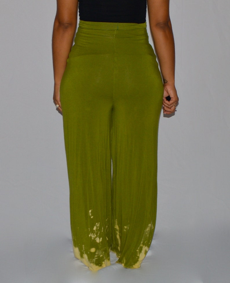 Calla Green High Waisted Wide Leg Bleached Bottom Pants