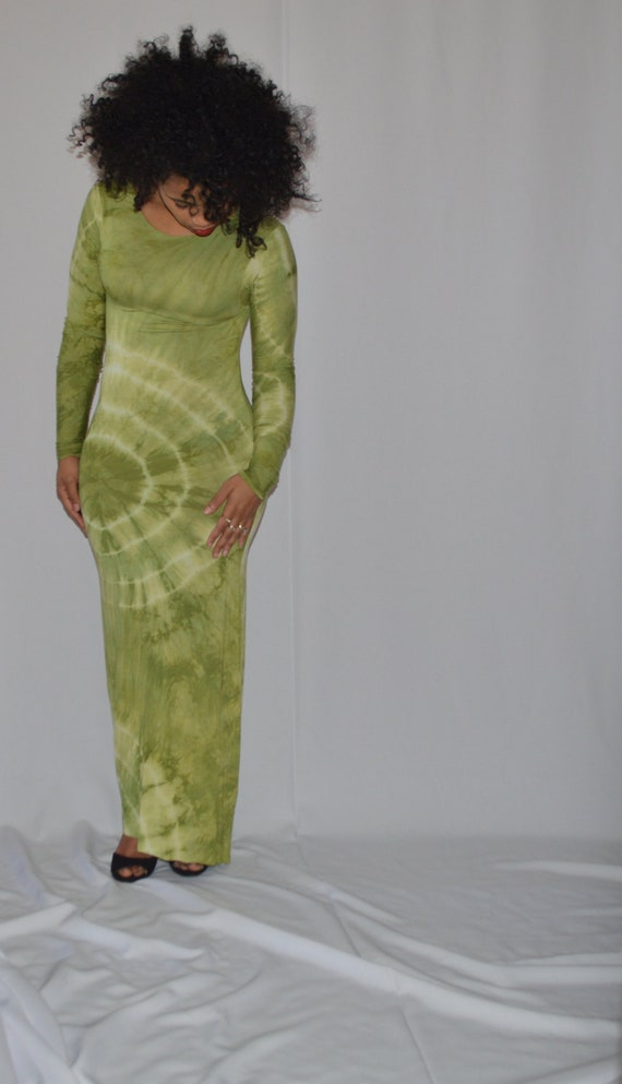w Green Dress Apple Long Sleeves Maxi Ht7qfdqw