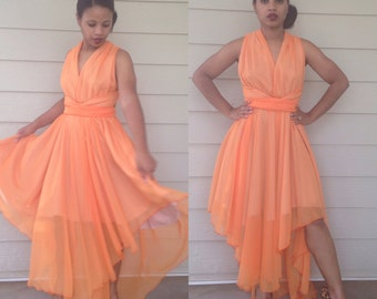 ON S A L E : Orange Chiffon Halter Muliti Tie Dress