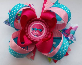 Poppy Troll Bow - Poppy Hair Bow - Troll Birthday Bow - Troll Party Bow