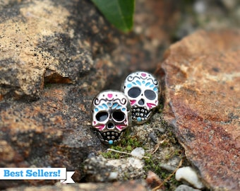 Mexican Sugar Skull Studs | Titanium Earrings | Day of the Dead | Skull Studs | Hypoallergenic Studs | Dia de los Muertos | Gift