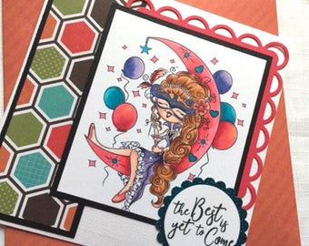 Encouragement Card, Friendship Card, Birthday Card,Balloon Card, Moon Card, Masquerade Card, Mardi Gras card