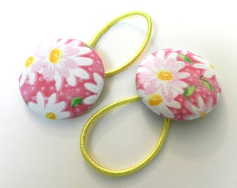 Girls hair bow Button Ponytail holder / Hair Ties Set of 2 stocking stuffers
