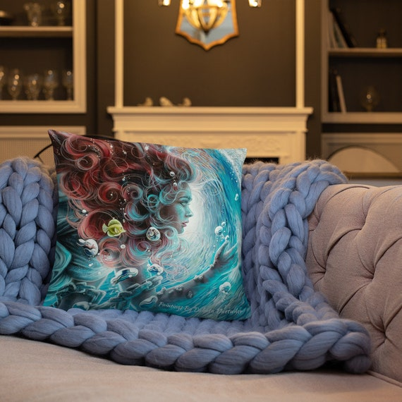 set of two mermaid design shaped pillow