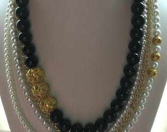 Black Jade White Pearl Gold Chain Multi Strand Statement Necklace with Gold Filgree Beads