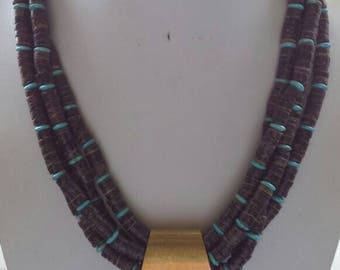 Multistrand Necklace with Brown Coconut Wood Beads Turquoise Howlite Beads Chunky Antique Brass Pendant Caps and Toggle