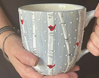 Handmade oversized mug, painted with birch and cardinal design, Xmas gift idea, hot chocolate mug, Xmas gift for women, Christmas gift,