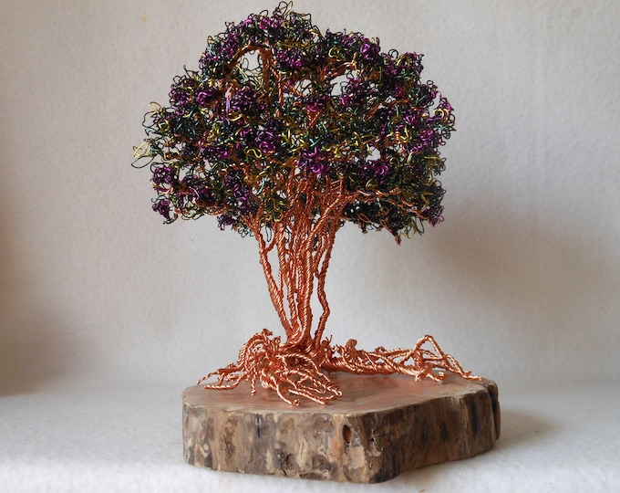 Wire Trees,Wire Tree Sculpture,Wire Tree,Photo Trees,Wire Art,Wire Sculpture,Purple Flowers,Trees,Copper Trees,Trees with Flowers,MTO Trees