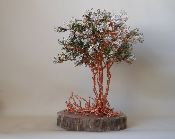 Wire Trees,Wire Tree Sculpture,Wire Art,Wire Tree,Photo Tree,Metal Sculpture,Bonsai Wire Trees,White Flowers,Crape Myrtle Tree,Tree of Life,