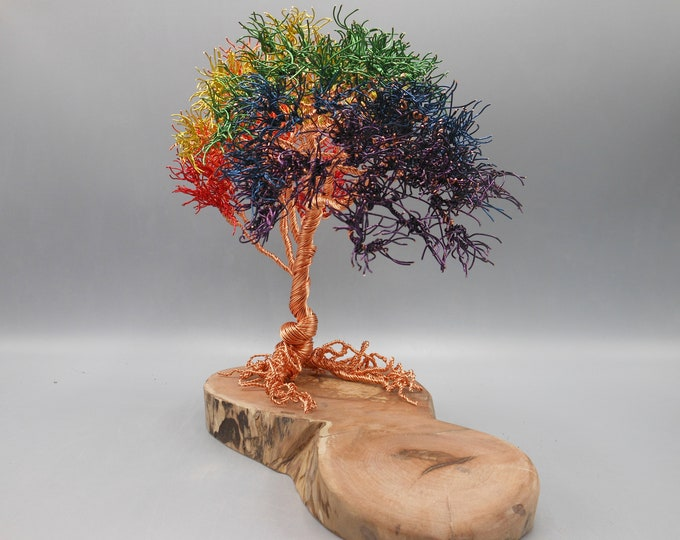 Wire Tree Sculpture,Wire Trees,Wire Art,Wire Sculpture,Metal Sculpture,Copper Trees,Trees Sculptures,Rainbow Colors,Memorial Tree,Photo Tree