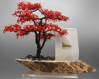 Wire Trees,Wire Tree Sculpture,Wire Art,Trees,Copper Tree,Bonsai Tree,Wire Bonsai Tree,Red Flowers,Memorial Tree,Photo Tree,Wire Sculpture