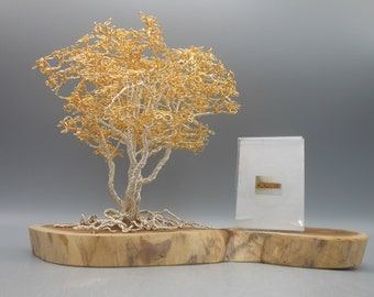 Wire Tree,Wire Tree Sculpture, Photo Tree,Memorial Tree,Bonsai Tree,50th Anniversary,Anniversary Gifts,Tree Sculpture,Gold Tree,Gold Plated