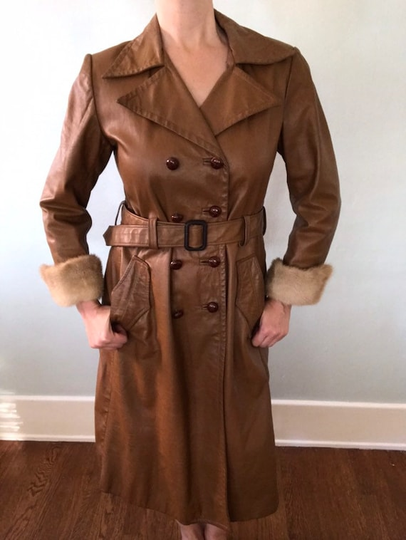 Leather trench coat - image 5