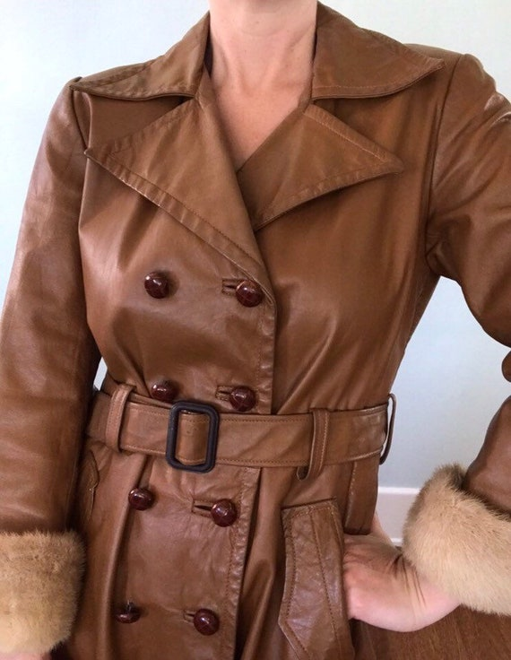 Leather trench coat - image 3
