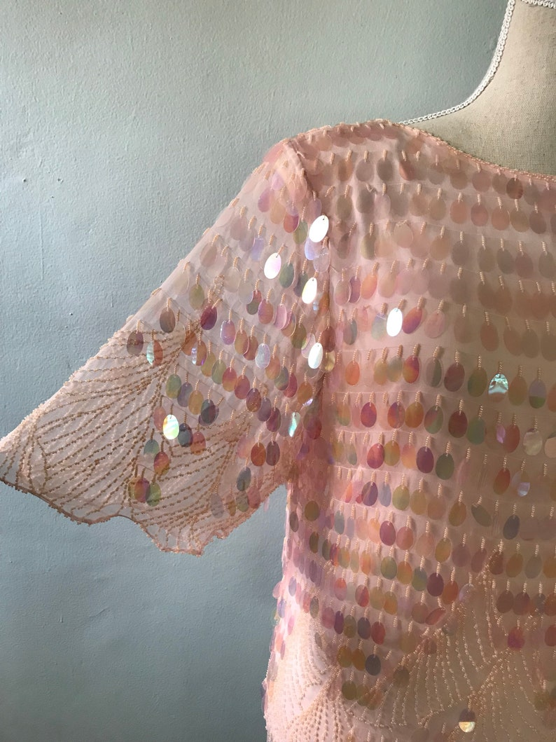 Pink sequined 80s trophy blouse