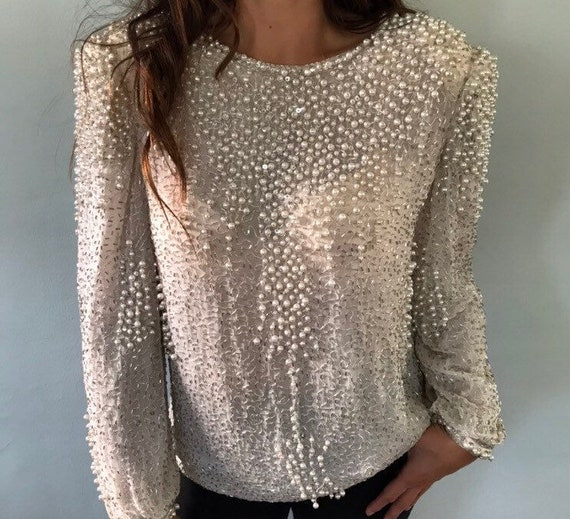 Pearl beaded blouse