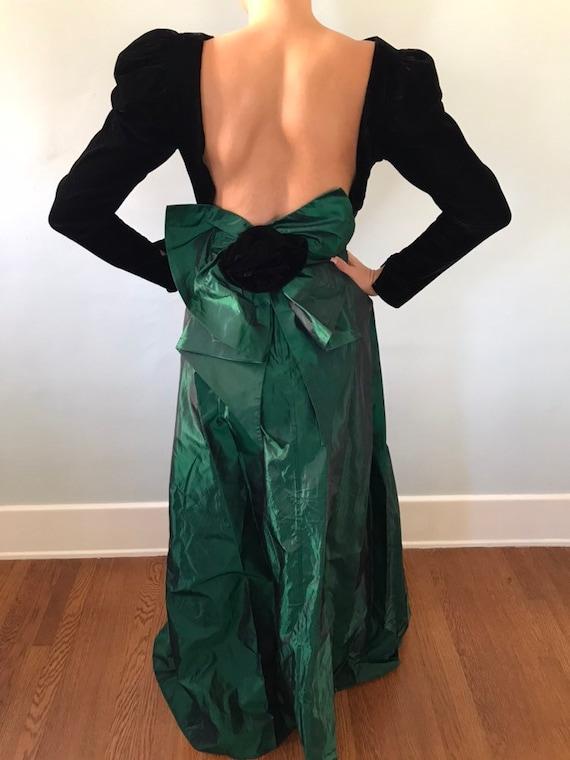 Velvet & taffeta gown