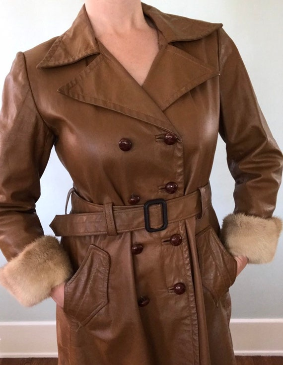 Leather trench coat - image 4