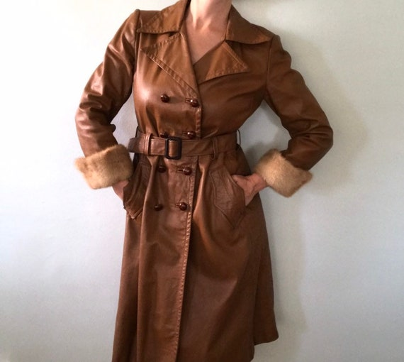 Leather trench coat - image 2