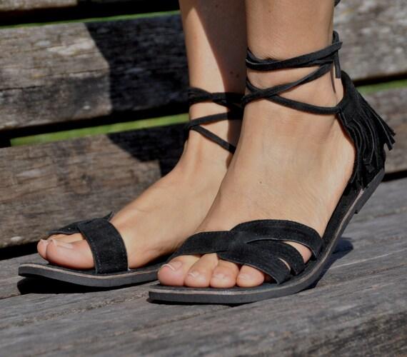 Black Suede Leather Sandals, Fringe Hippie Leather Sandals, Black Strap Sandals, Flat Sandals, Summer Shoes, Barefoot Sandals